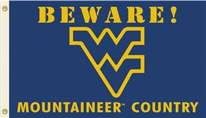 College W Virginia Beware Mountaineer Country Flag