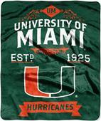 "Northwest NCAA Univ. Miami 50""x60"" Raschel Throw"