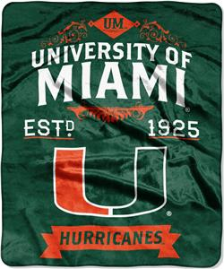 "Northwest NCAA Univ. Miami 50""x60"" Raschel Throw"