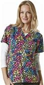 WonderWink Womens Golf Print Scrub Top