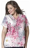 WonderWink Plus Women Curved Vneck Print Scrub Top