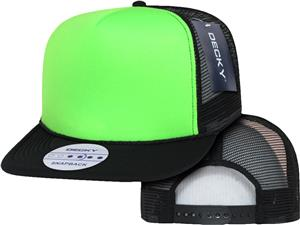 Decky Flat Bill Neon 5-Panel Trucker Caps