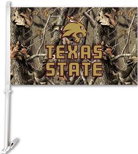 COLLEGIATE Texas State Realtree Camo Car Flag