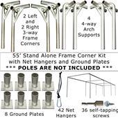 55' or 70' Baseball Frame Corners & Ground Plates