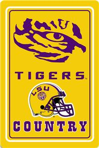"COLLEGIATE LSU 12""x18"" Metal Sign"