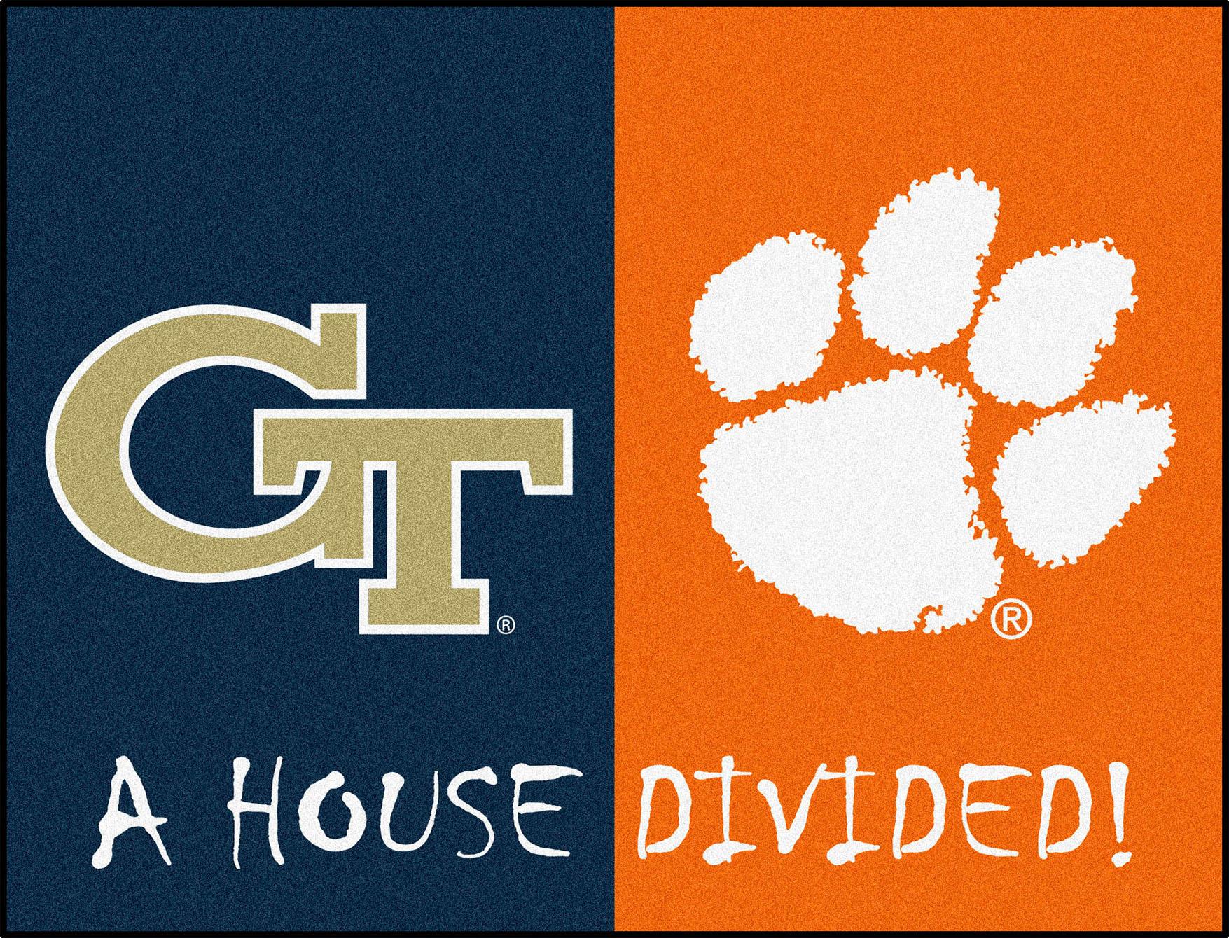 E109273 Fan Mats Georgia Tech Clemson House Divided Mat