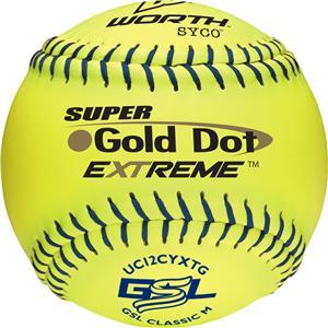 "Worth GSL Gold Dot Extreme 12"" Slowpitch Softballs"