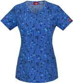 Dickies Women's Jr Fit V-Neck Kersplat! Scrub Top