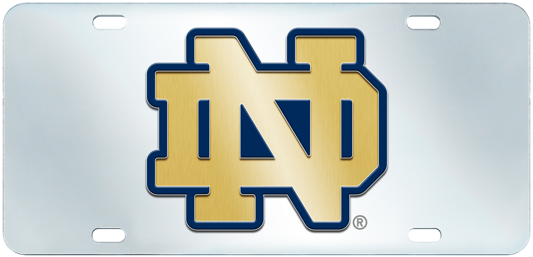 E111368 Fan Mats Notre Dame License Plate Inlaid