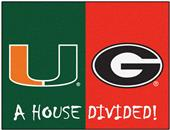 Fan Mats NCAA Miami/Georgia House Divided Mat