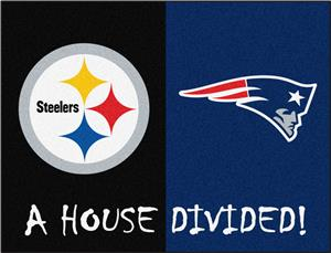 Fan Mats NFL Steelers/Patriots House Divided Mat