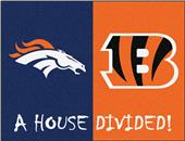 Fan Mats NFL Broncos/Bengals House Divided Mat