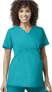 WonderWink Maternity Mock Wrap Scrub Top