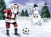 Santa and Snowman Soccer Greeting Cards