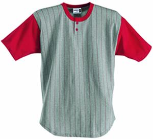 Badger Henley Pinstripe Baseball Jerseys-Closeout