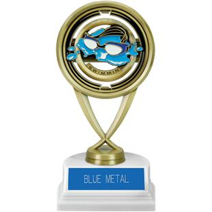 """7"""" Swimming Saturn Trophy on Marble Base"""