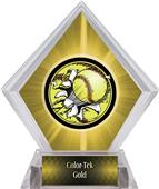 Bust-Out Softball Yellow Diamond Ice Trophy