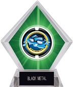 "2"" Saturn Swimming Green Diamond Ice Trophy"
