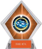 "2"" Saturn Swimming Orange Diamond Ice Trophy"