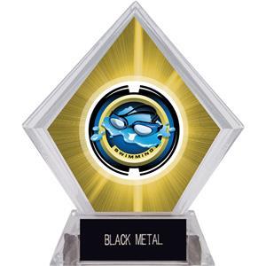 "2"" Saturn Swimming Yellow Diamond Ice Trophy"
