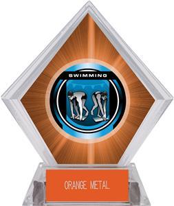 "2"" Legacy Swimming Orange Diamond Ice Trophy"