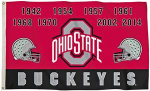 Collegiate Ohio State Champ Years 3' x 5' Flag
