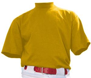 Baseball 100% Cotton Short Sleeve Mock Turtleneck