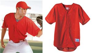 Pro Mesh Button Front V-Neck Baseball Jersey