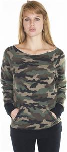 Royal Apparel Womens Camo Fleece Raglan Shirt