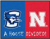 Fan Mats NCAA Creighton/Nebraska House Divided Mat