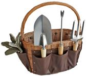 Picnic Pack Willow Garden Basket 9-pc Garden Tools