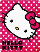 Northwest Hello Kitty Polka Dot Kitty Fleece Throw