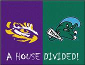 Fan Mats LSU/Tulane House Divided Mat
