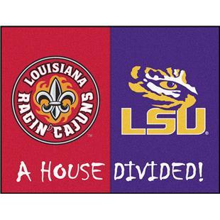 Fan Mats UL-Lafayette/LSU House Divided Mat