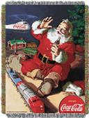 Northwest CocaCola Santa Helicopter Woven Tapestry