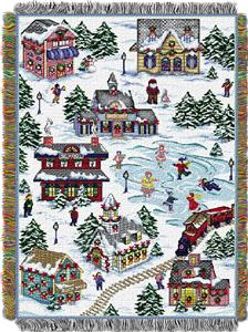 Northwest Snowy Village Woven Tapestry Throw