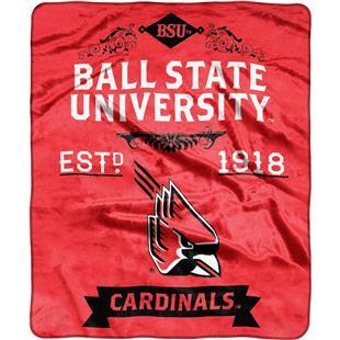 NCAA Ball State Label Raschel Throw