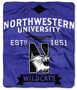 NCAA Northwestern University Label Raschel Throw