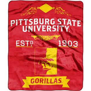 NCAA Pittsburgh State Label Raschel Throw