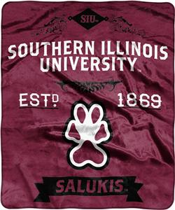 NCAA Southern Illinois Univ Label Raschel Throw