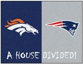 Fan Mats NFL Broncos/Patriots House Divided Mat