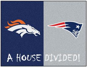 Fan Mats NFL Broncos/Patriots House Divided Mat