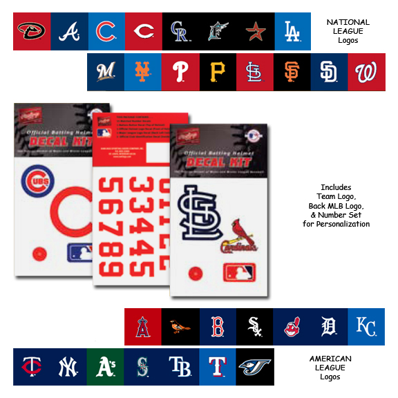 E11870 Rawlings MLB Team Decal Kits Batting Helmet Decals
