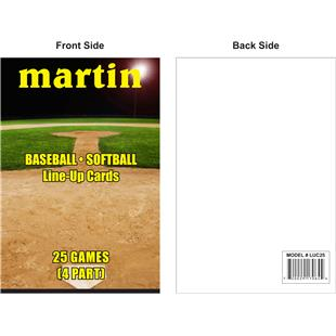 Martin Sports Baseball/Softball Line-Up Cards