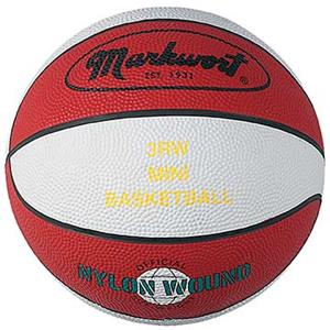 Markwort Youth Size 3 Red/White Rubber Basketballs