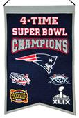 Winning Streak NFL Patriots 4x Super Bowl Banner