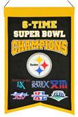 Winning Streak NFL Steelers 6x Super Bowl Banner