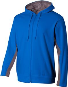 A4 Adult Youth Full Zip Color Block Fleece Hoodie