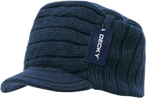 Decky Knitted Flat Top Cap w/ Visor