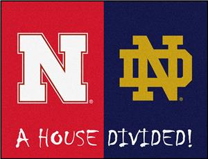 Fan Mat NCAA Nebraska/Notre Dame House Divided Mat